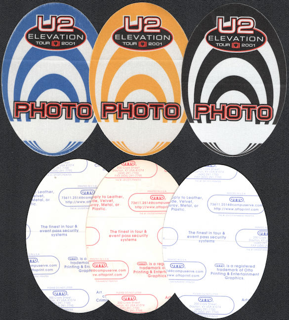 ##MUSICBP0644 - Group of 3 U2 OTTO Cloth Backstage Photo Passes from the 2001 Elevation Tour