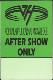 ##MUSICBP0806 - Van Halen OTTO Cloth After Show Only Backstage Pass from the Unlawful Carnal Knowledge Tour