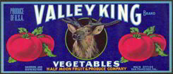 #ZLC192 - Valley King Vegetable Crate Label