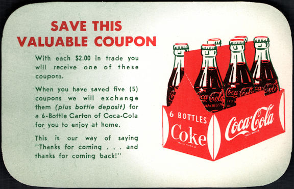 """#CC372 - Group of 4 """"Valuable"""" Free Coca Cola Carton Coupons"""