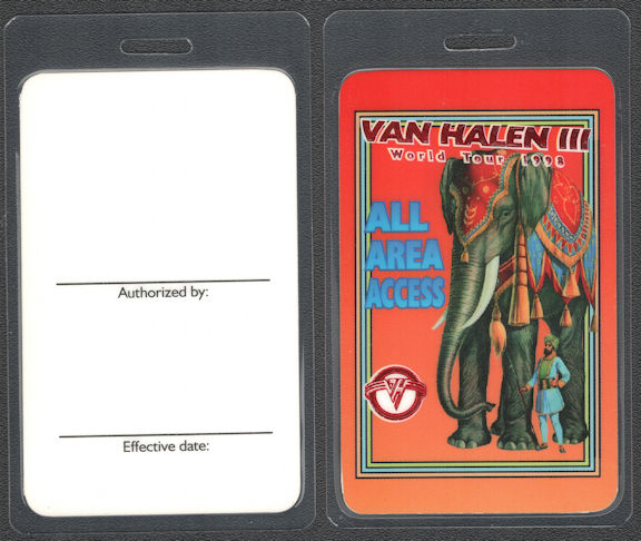 ##MUSICBP0754 - Van Halen All Area Access OTTO Laminated Backstage Pass from the 1998 Van Halen III Tour