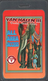 ##MUSICBP0754 - Van Halen All Area Access OTTO Laminated Backstage Pass from the 1998 Van Halen III Tour