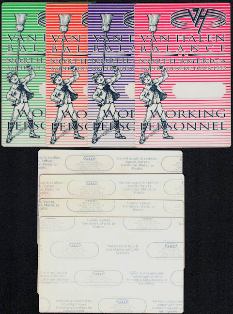 ##MUSICBP0596 - Group of 4 Van Halen OTTO Cloth Working Personnel Backstage Passes from the 1995 Balance Tour