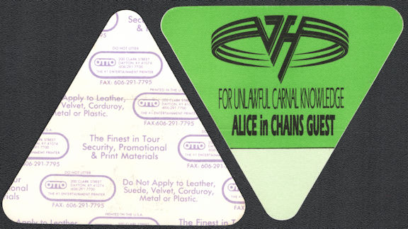 ##MUSICBP0818 - Scarce Van Halen with Alice in Chains OTTO Cloth Backstage Pass from the 1991 For Unlawful Carnal Knowledge Tour