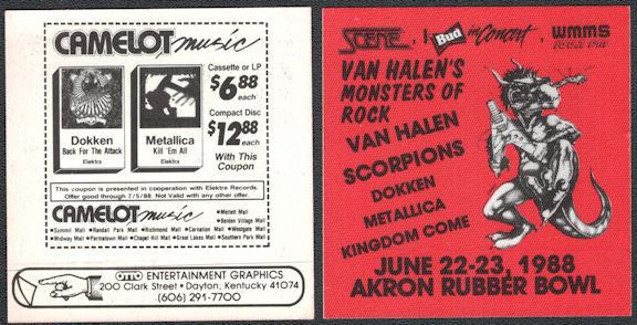 ##MUSICBP0587 -Cloth OTTO Backstage Radio Pass from the 1988 Van Halen's Monsters of Rock Tour - Van Halen, Metallica, Scorpions, Dokken