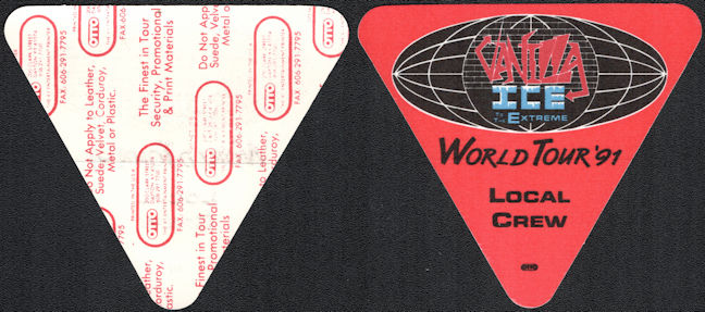 ##MUSICBP0195 - Vanilla Ice Local Crew OTTO Cloth Backstage Pass from the 1991 Vanilla Ice Extreme Tour