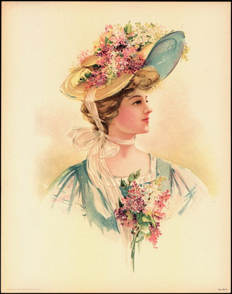 #MS164 - 1908 Victorian Print - Lady in Yellow Hat with Hyacinths