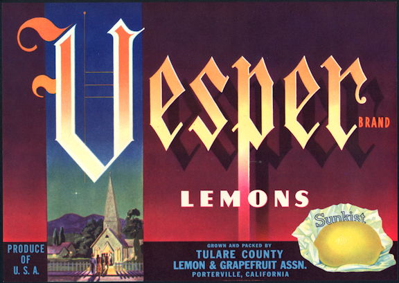 #ZLC444 - Vesper Sunkist Lemon Crate Label