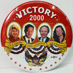 #PL364 - Victory 2000 Al & Tipper and Joe & Hadassah Pinback from the 2000 Election