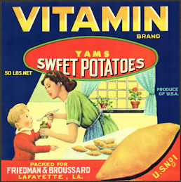 #ZLC463 - Vitamin Brand Yams/Sweet Potatoes Crate Label - Lafayette, Louisiana