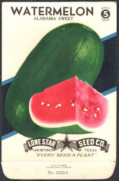 #CE083 - Brightly Colored Alabama Sweet Watermelon Lone Star 5¢ Seed Pack - As Low As 50¢ each