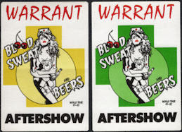 ##MUSICBP0642 - Pair of WARRANT OTTO Cloth Backstage Passes from the 1991/92 Blood Sweat and Beers Tour
