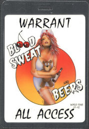 ##MUSICBP0753 - WARRANT Laminated All Accesss OTTO Backstage Pass from the 1991/92 Blood Sweat and Beers Tour