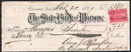 #ZZZ187 - Check from the Bank of Warsaw, Indiana - Has 1899 Tax Stamp - Spanish American War