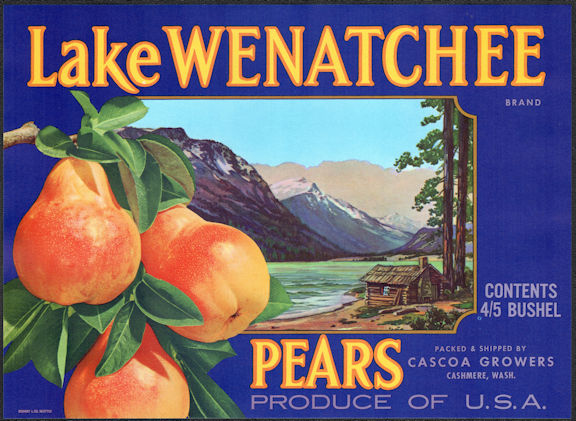 #ZLSH002 - Group of 12 Lake Wenatchee Pear Crate Labels - Blue Version