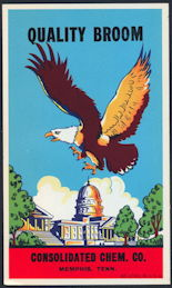 #ZLB045 - Eagle Flying over the Capitol Building Broom Label