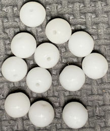 #BEADS0930 - Strand of 26+ Large Cherry Brand Glass 14mm Alabaster Dimpled Beads