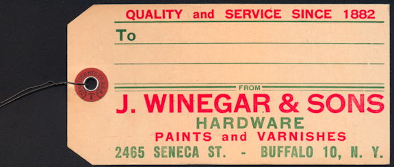 #ZZZ164 - Hardware Tag from J. Winegar & Sons Hardware - Buffalo
