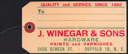 #ZZZ164 - Hardware Tag from J. Winegar & Sons Hardware - Buffalo