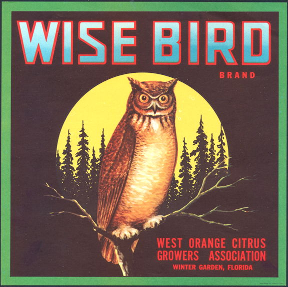 #ZLC087 - Wise Bird Orange Crate Label