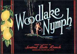 #ZLC486 - Woodlake Nymph Lemon Crate Label - Woodlake, CA - Pinup
