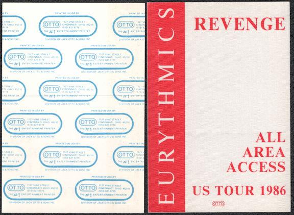 ##MUSICBP0555  - 1986 Eurythmics Revenge Tour All Access Cloth OTTO Backstage Pass