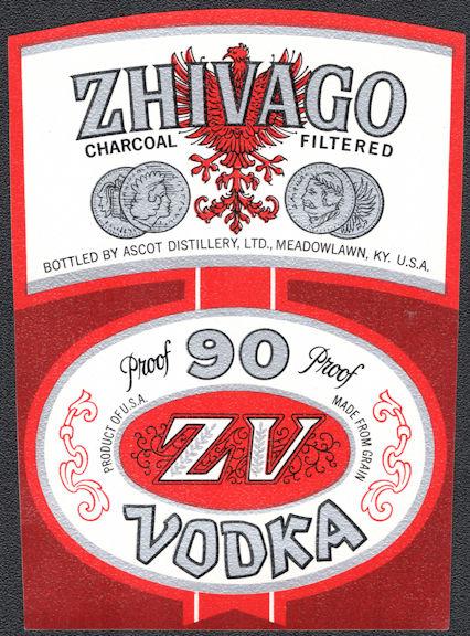 #ZLW175 - Scarce Zhivago Brand Brand Vodka Label - Meadowlawn, KY