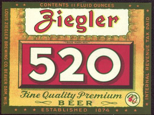 #ZLBE068 - Ziegler 520 IRTP Beer Label