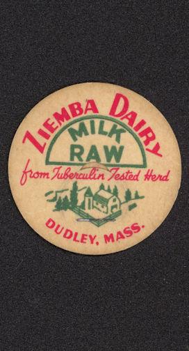 #DC132 - Ziemba Dairy Raw Milk Bottle Cap - Tuberculosis Tested Herd