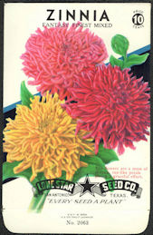#CE042 - Fantasy Finest Mixed Zinnia Lone Star 10¢ Seed Pack - As Low As 50¢