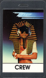##MUSICBP0567  - 1985 ZZ Top OTTO Laminated Crew Backstage Pass from the Afterburner Tour - Egyptian Theme